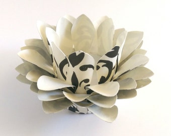 Paper Lotus Lantern -Black and Cream Damask-