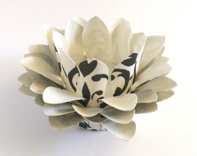 Paper Lotus Lantern -Black and Cream Damask-