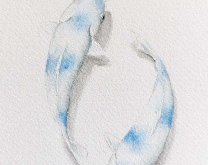 Blue Koi Original Watercolor
