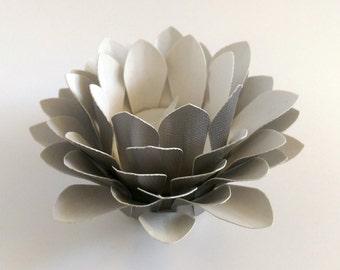 Paper Lotus Lantern -Metallic Silver-