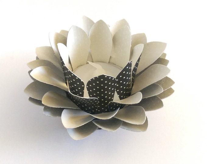 Small Paper Lotus Lantern -Black and Cream Polkadots-