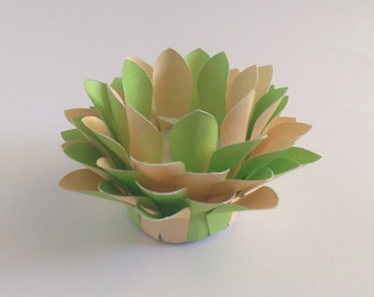 Paper Lotus Lantern -Lime and Yellow-