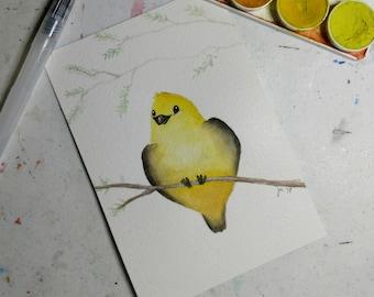 Happy Yellow Bird Watercolor