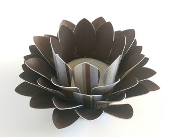 Paper Lotus Lantern -Blue, Brown, Cream Stripe-