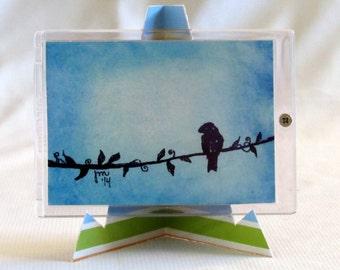 Original ACEO -Bird On A Vine-