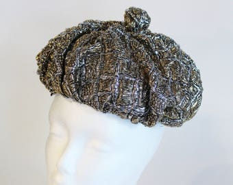 60's Silver Lame Beannie - Tam - Hat - Miss May - 1960s Metallic Pouf Hat