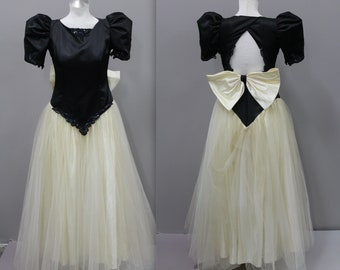 2224fb03de5 Black and White 1980s Prom Dress with Sequins and Giant Bow, Tulle 1980s  Exaggerated Dress, 80s Tacky Prom Dress, Vintage Prom Dresses
