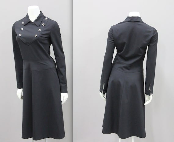 Black Dress with Collar, Black Vintage Dress, Anne