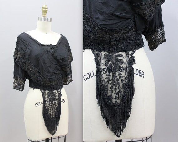 Beaded Victorian Mourning Blouse, 1900s Victorian