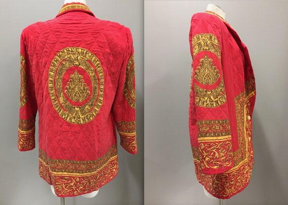 3d9c2cc5b73 Adam Douglas Silk Jacket Red and Gold Jacket Gold emblem | Etsy