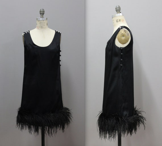 Feathered Flapper Costume, Black Satin 1960's Cock