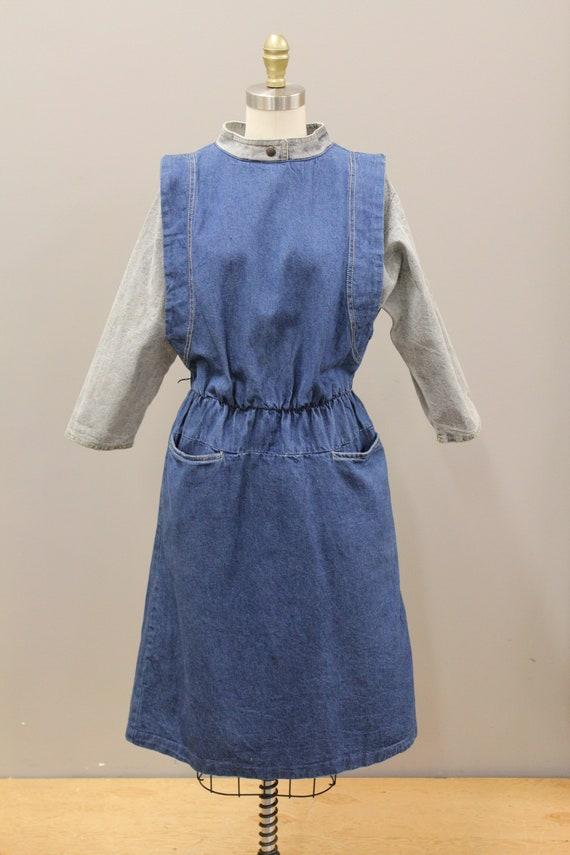 Vintage Cotton Denim Dress, 1980s Batwing Denim D… - image 3