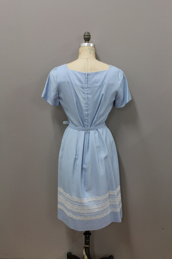 1950s Powder Blue Dress with Lace and Belt, Vinta… - image 5