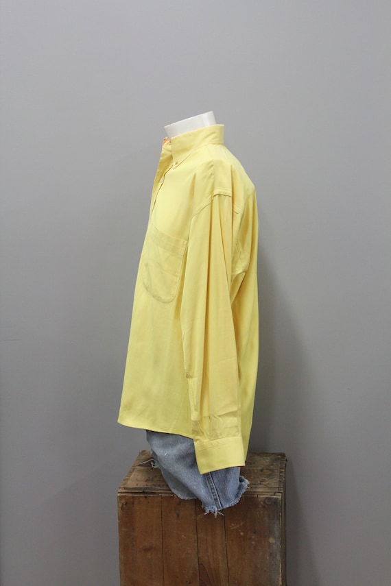 90s Burberry Yellow and Orange Cotton Dress Shirt… - image 6