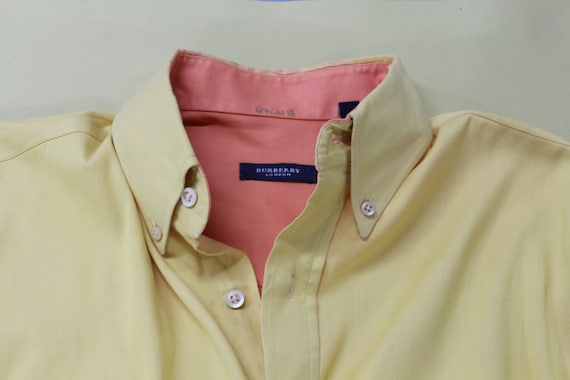 90s Burberry Yellow and Orange Cotton Dress Shirt… - image 8