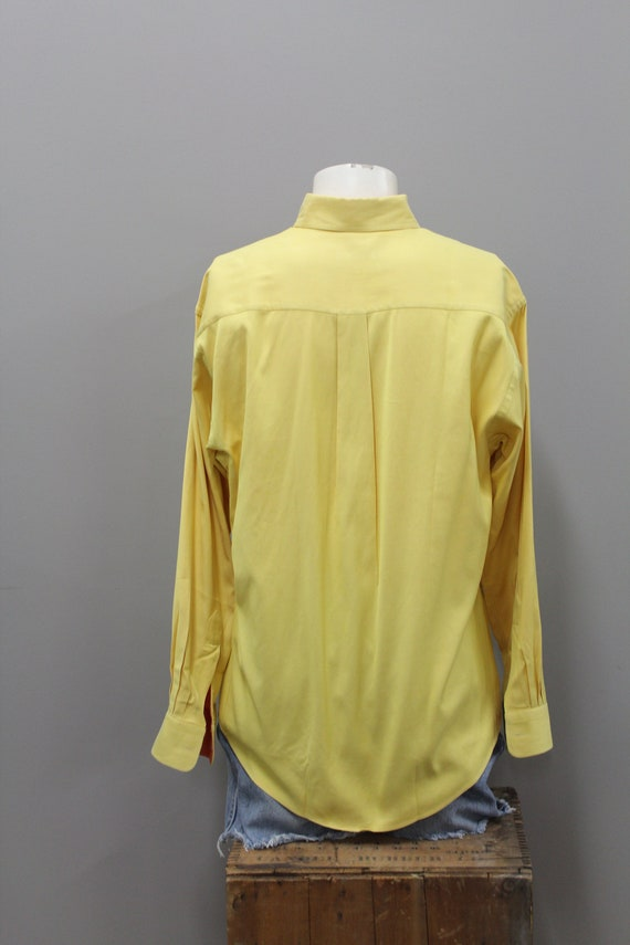 90s Burberry Yellow and Orange Cotton Dress Shirt… - image 7