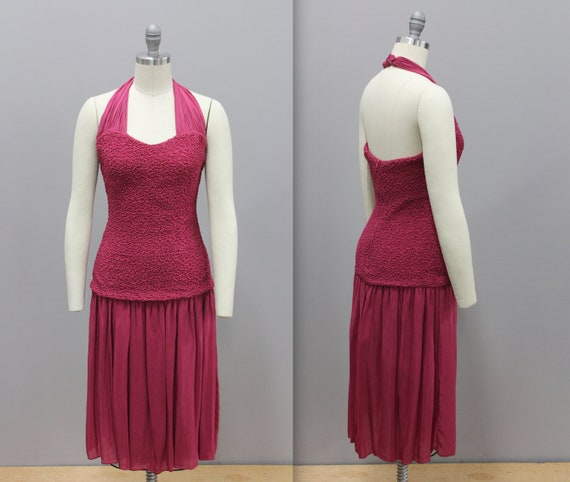 Vintage Drop Waist Smocked Cocktail Dress, Fuschia
