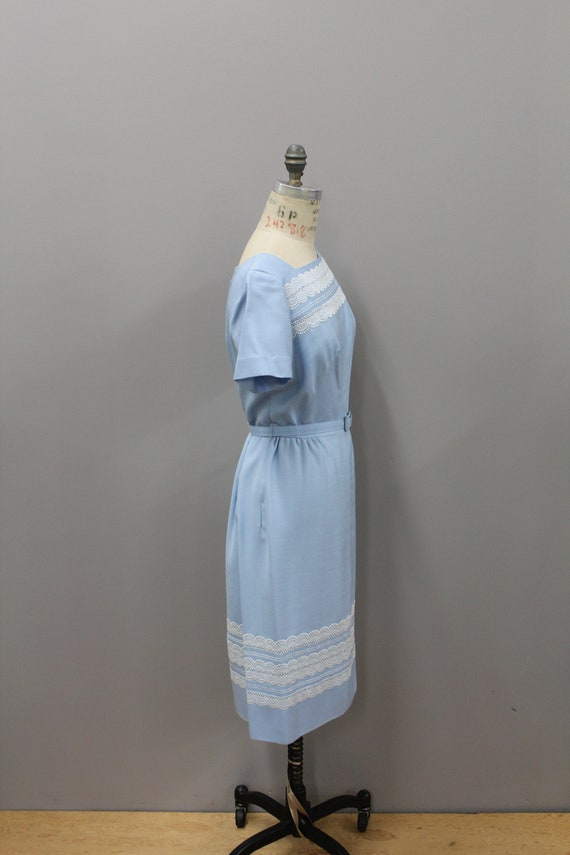 1950s Powder Blue Dress with Lace and Belt, Vinta… - image 6