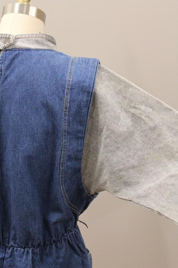 Vintage Cotton Denim Dress, 1980s Batwing Denim D… - image 8
