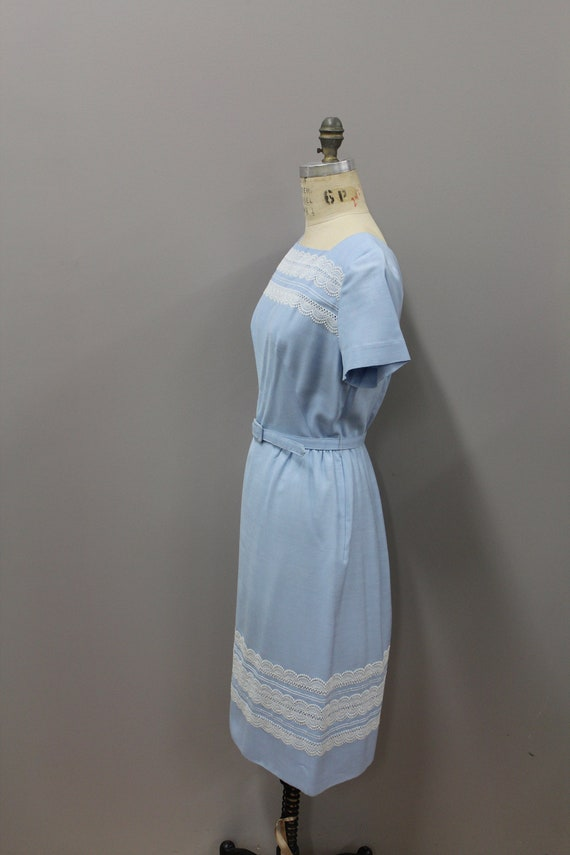 1950s Powder Blue Dress with Lace and Belt, Vinta… - image 4