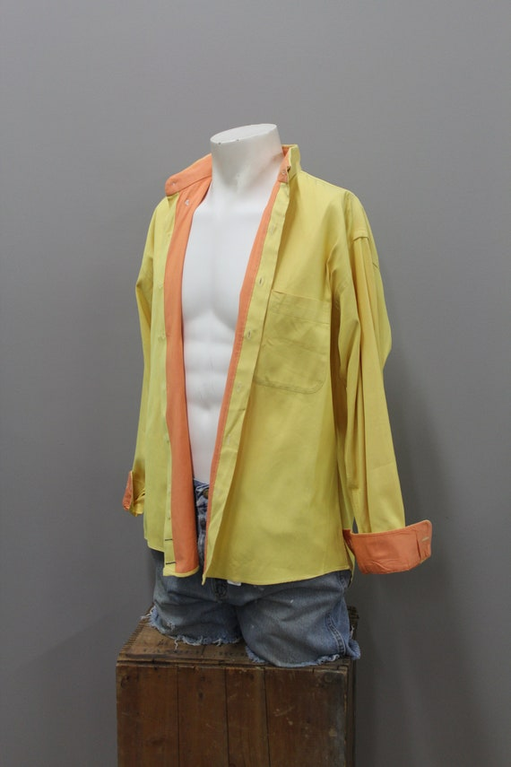 90s Burberry Yellow and Orange Cotton Dress Shirt… - image 4