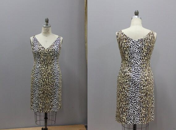 Vintage Leopard Print Cocktail Dress by Bloomingda