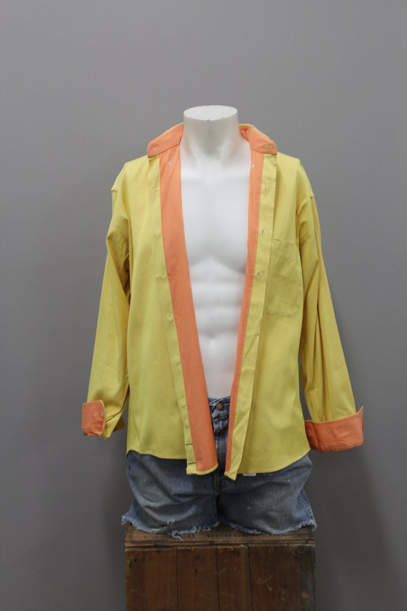 90s Burberry Yellow and Orange Cotton Dress Shirt… - image 3