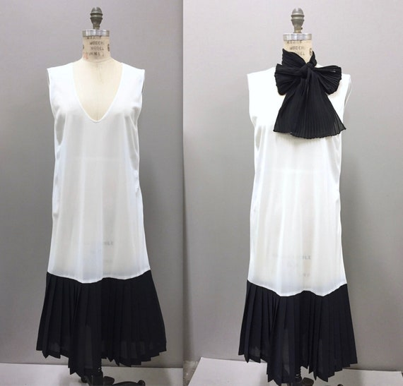 Sheer Flapper Dress Black and White Sheath Dress,