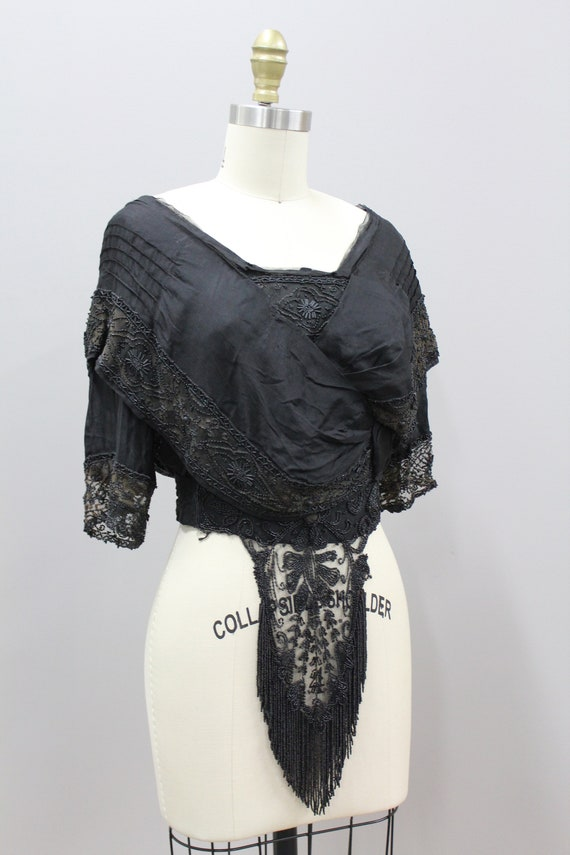 Beaded Victorian Mourning Blouse, 1900s Victorian… - image 3