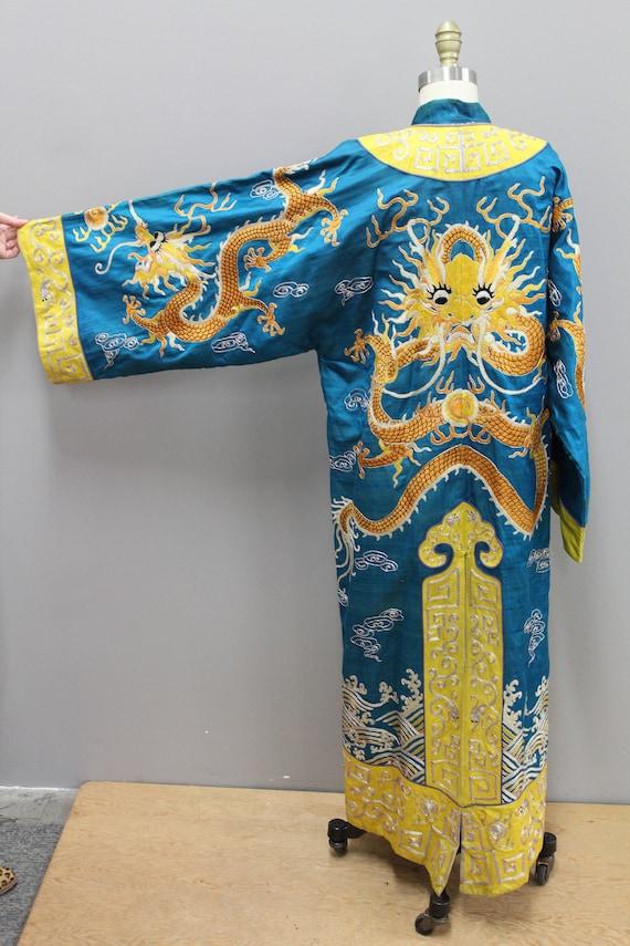 Antique Handmade Chinese Robe, Yellow Dragon Robe,