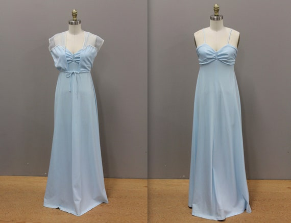 Vintage 1970s Blue Prom Dress, 1970s Powder Blue P