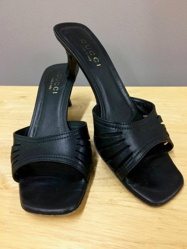 292cd9b34 Gucci Shoes Gucci Sandals Black Gucci Slides Vintage Gucci   Etsy
