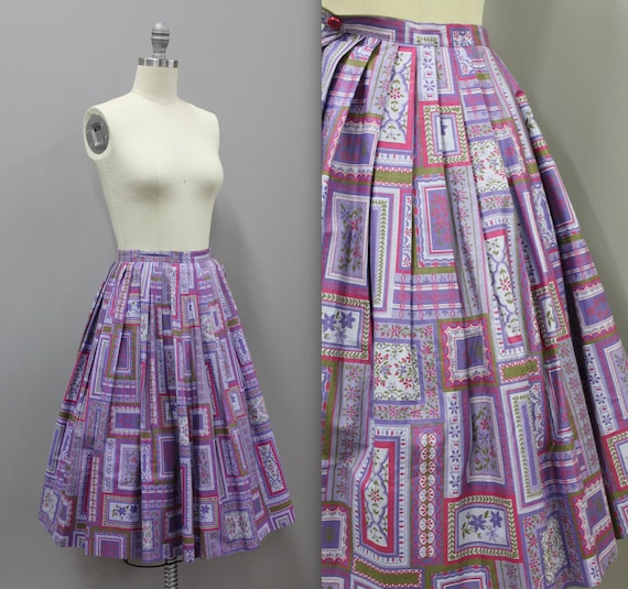 XS Vintage Novelty Print Cotton Circle Skirt, Vin… - image 1
