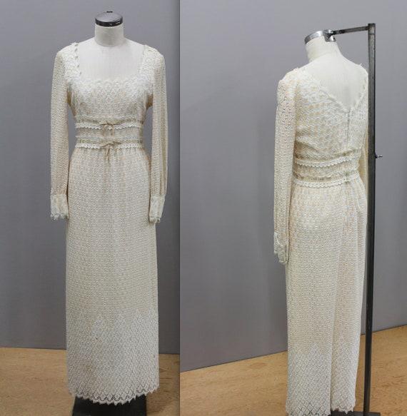 1960s Lace Boho Formal Dress, Floor Length BohoLac