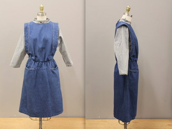 Vintage Cotton Denim Dress, 1980s Batwing Denim Dr