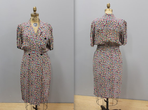 Vintage 1980s Funky Printed Wrap Day Dress, 1980s