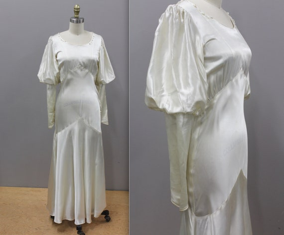 1930s Satin Bridal Gown with Leg Of Mutton Sleeves