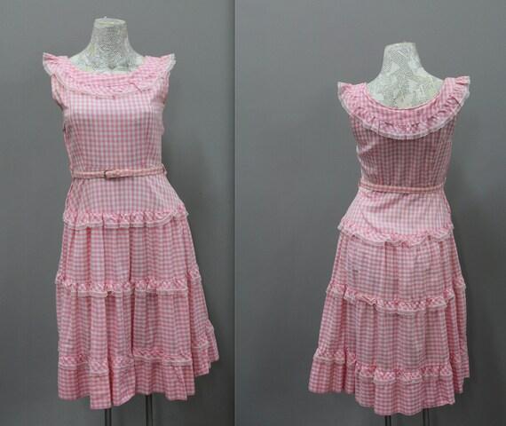 10be6c642da Pink Gingham Dress Vintage Gingham Ruffled Dress Bo Peep