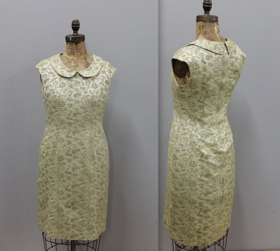Vintage Brocade Metallic Dress, Metallic Cocktail