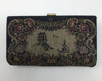 Vintage Embroidered Clutch - Petit Point Women's Evening Bag,  Needle Point Clutch, Asian Inspired Petit Point Box Clutch