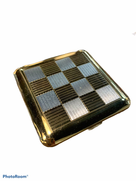 Vintage Gold Checkered Wadsworth Compact Case, 50s