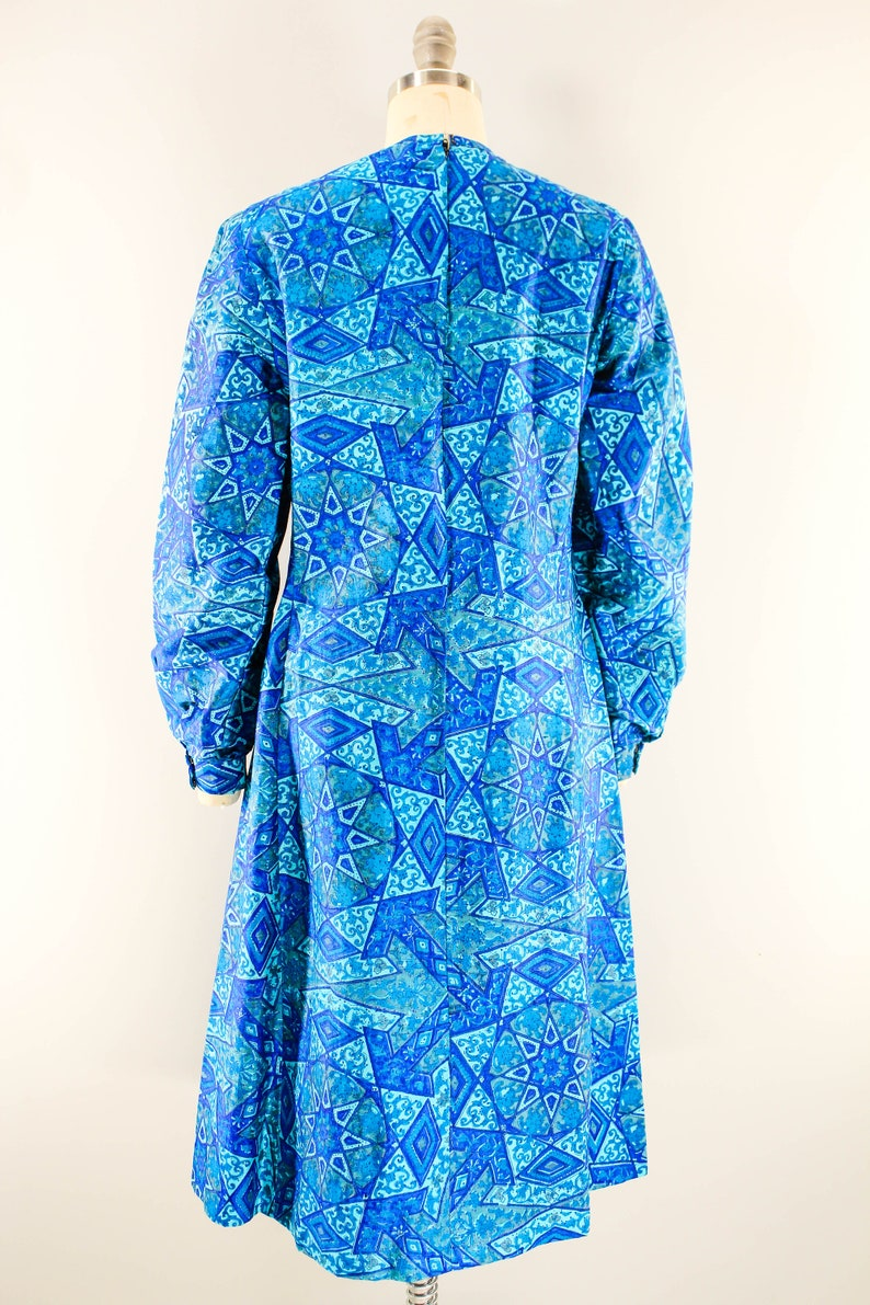 1960s Cobalt Couture Mosaic Pattern Dress Long Sleeve Below the Knee Dress with Cuffed Wrists and Zip Up Back Vintage Deep Sea Blue Dress