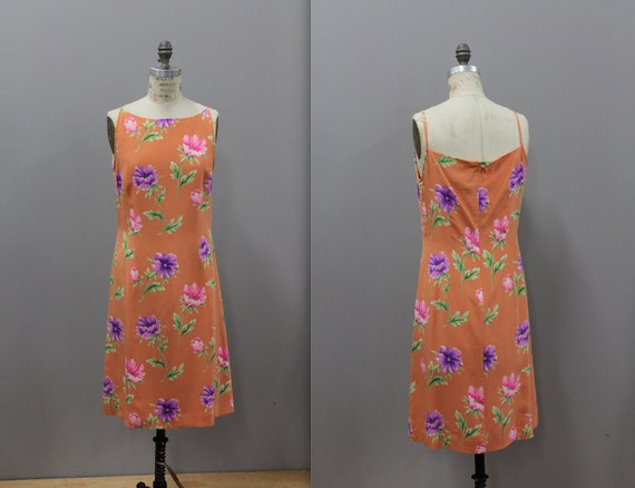 Adrianna Papell 90s Orange Floral Tank Dress, Oran