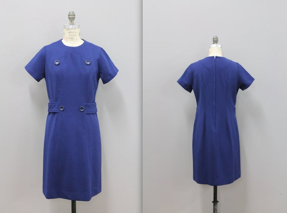 Blue Polyester Mod Dress 1960s Mini Navy Blue Mod