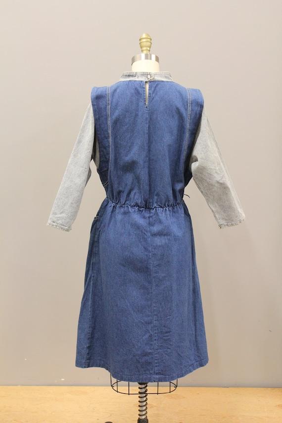 Vintage Cotton Denim Dress, 1980s Batwing Denim D… - image 5