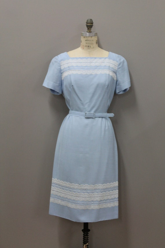 1950s Powder Blue Dress with Lace and Belt, Vinta… - image 3
