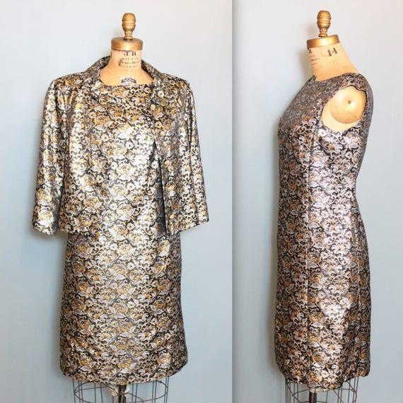 Vintage Metallic Brocade Lame Dress Set, 1960s Met