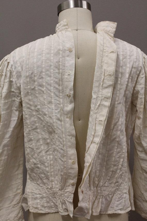 Victorian Shirtwiast, Antique Cotton Blouse, Whit… - image 9