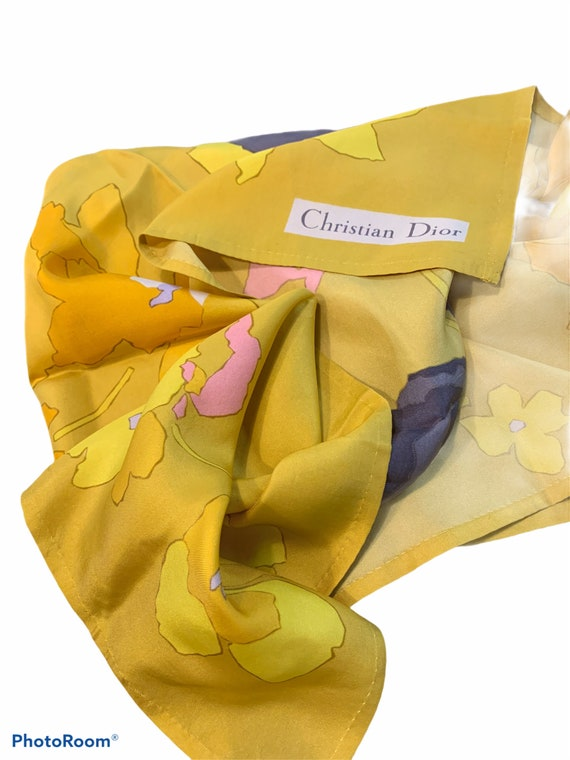 Vintage Christian Dior Mustard Silk Scarf, Large S