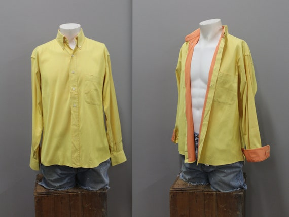 90s Burberry Yellow and Orange Cotton Dress Shirt,